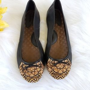 Born black flats with gold beaded toe & bow